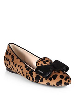 Prada - Leopard-Print Calf Hair & Suede Bow Smoking Slippers