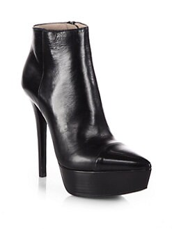 Prada - Leather Platform Ankle Boots