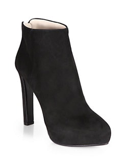 Prada - Suede Platform Ankle Boots