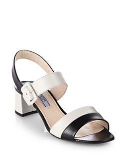 Prada - Bicolor Saffiano Leather Sandals