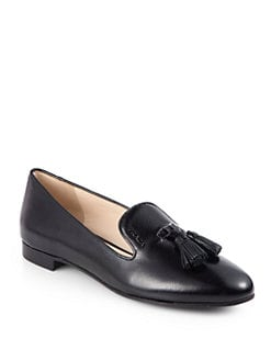 Prada - Saffiano Leather Tassel Smoking Slippers