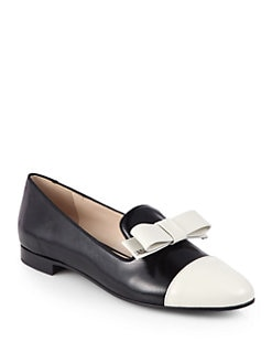 Prada - Bicolor Saffiano Leather Bow Smoking Slippers