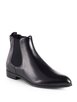 Prada - Polished Leather Chelsea Boots