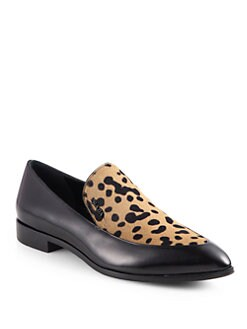 Prada - Leopard-Print Calf Hair & Leather Loafers