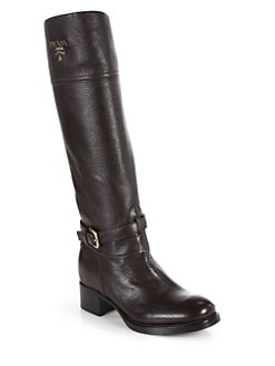 Prada - Textured Leather Knee-High Boots