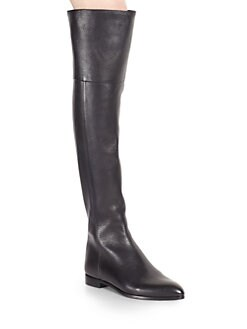 Prada - Leather Over-The-Knee Boots