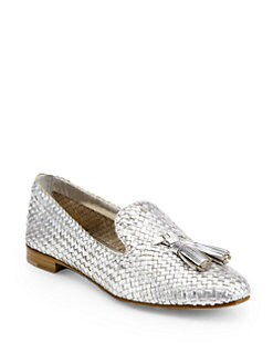 Prada - Woven Metallic Leather Tassel Smoking Slippers