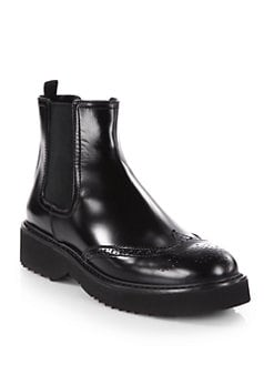 Prada - Leather Wingtip Ankle Boots