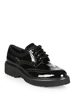 Prada - Patent Leather Lace-Up Oxfords