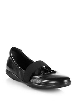 Prada - Mary Jane Elasticized Leather Flats