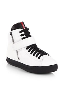 Prada - Bicolor Leather High-Top Sneakers