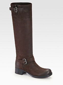 Prada - Nubuck Leather Buckle Boots