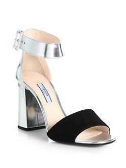 Prada - Suede & Metallic Leather Ankle Strap Sandals