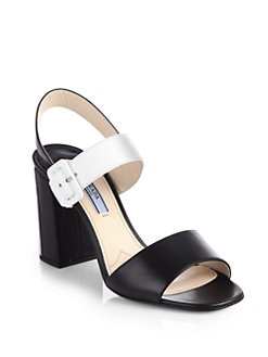 Prada - Bicolor Leather Ankle Strap Sandals