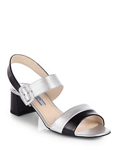 Prada - Bicolor Metallic Saffiano Leather Ankle Strap Sandals