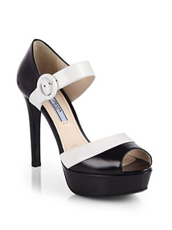 Prada - Bicolor Leather Platform Sandals