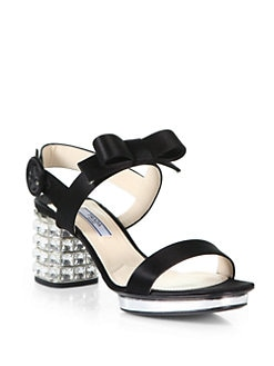Prada - Satin Jeweled Heel Sandals