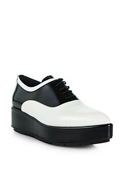 Prada - Bicolor Leather Platform Wedge Oxfords