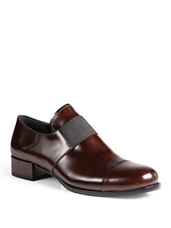 Prada - Leather Banded Loafers