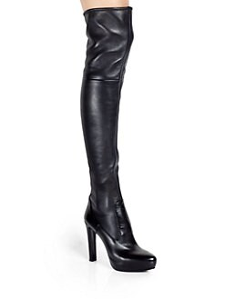 Prada - Stretch Leather Over-The-Knee Platform Boots