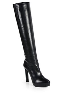 Prada - Leather Knee-High Platform Boots