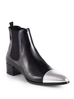 Prada - Leather Metallic Cap-Toe Ankle Boots