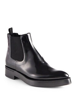 Prada - Polished Leather Ankle Boots