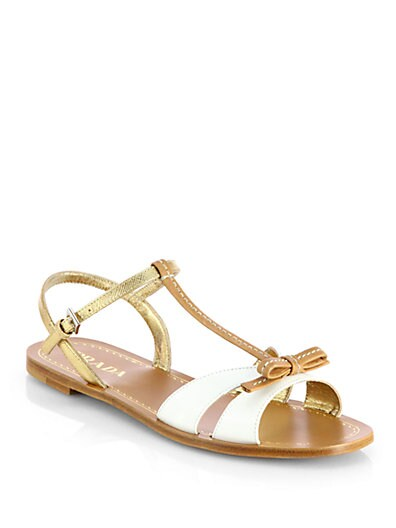 Bicolor Leather Bow Sandals