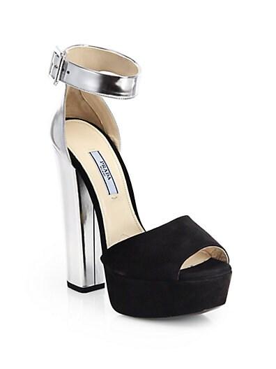 Suede  Metallic Leather Platform Sandals