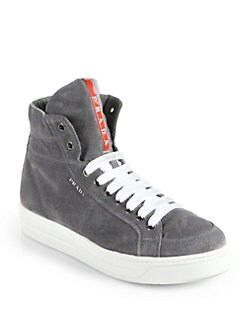 Prada - Suede Lace-Up Sneakers