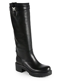 Prada - Leather Buckle Knee-High Boots