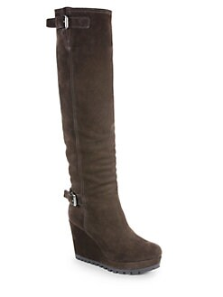Prada - Suede Knee-High Wedge Boots
