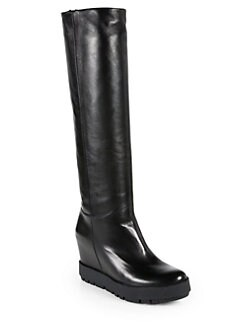 Prada - Leather Knee-High Wedge Boots