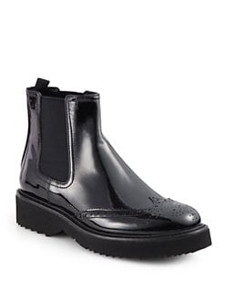 Prada - Patent Leather Ankle Boots