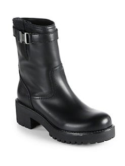 Prada - Leather Buckle Mid-Calf Boots