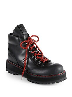 Prada - Leather Lace-Up Platform Ankle Boots