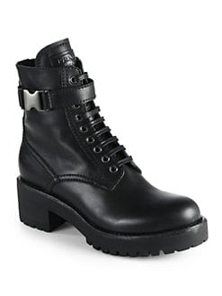 Prada - Leather Lace-Up Mid-Calf Boots