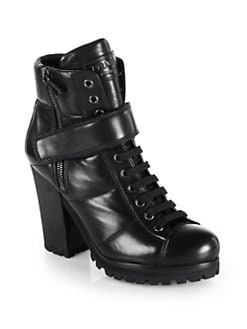 Prada - Leather Lace-Up Ankle Boots