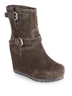 Prada - Suede Double-Buckle Mid-Calf Wedge Boots