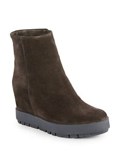 Prada - Suede Wedge Ankle Boots