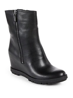 Prada - Leather Wedge Mid-Calf Boots