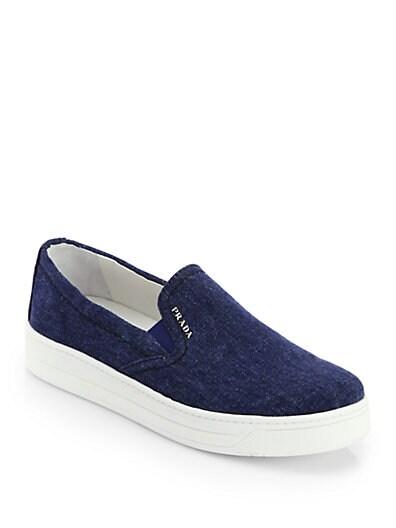 Denim Laceless Sneakers