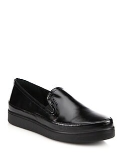 Prada - Saffiano Patent Leather Wedge Skate Shoes