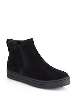 Prada - Suede Laceless High-Top Sneakers