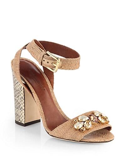 Jeweled Raffia  Snakeskin High-Heel Sandals
