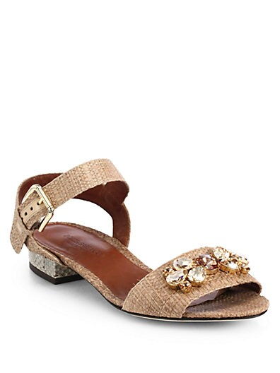 Jeweled Raffia  Snakeskin Sandals