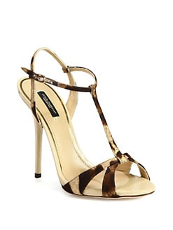 Dolce & Gabbana - Leopard-Print Canvas & Patent Leather T-Strap Sandals