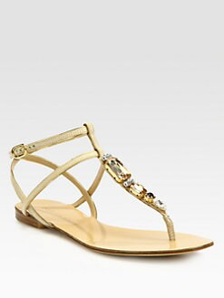 Dolce & Gabbana - Jeweled Lizard-Stamped Leather T-Strap Sandals