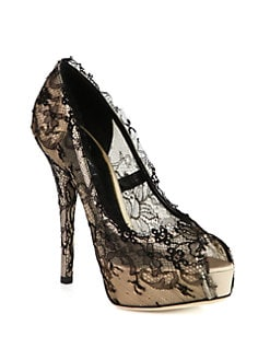 Dolce & Gabbana - Lace-Covered Satin Platform Pumps