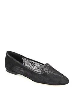 Dolce & Gabbana - Lace & Leather Smoking Slippers
